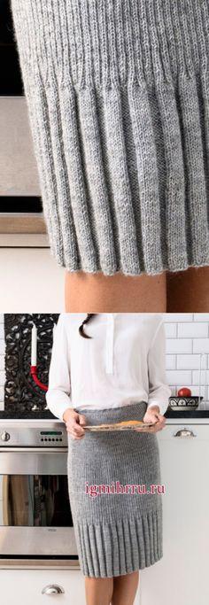 Красивая и простая в исполнении юбка спицами