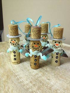 Snowmen+Wine+Cork+Ornaments+Blue+by+StudioEightySix+on+Etsy,+$20.00