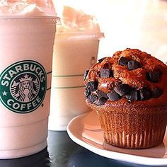 Muffin and drinks