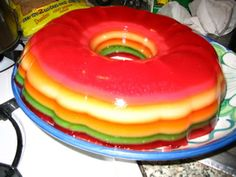 Rainbow jello mold