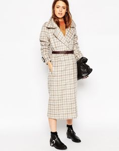 ASOS Coat in Brushed Check with Leather Belt, $125