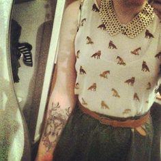 cute shirt and deer tattoo!