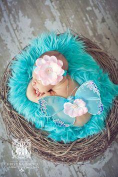 Aqua Blue Mongolian Faux Fur Nest by BeautifulPhotoProps on Etsy, $34.00