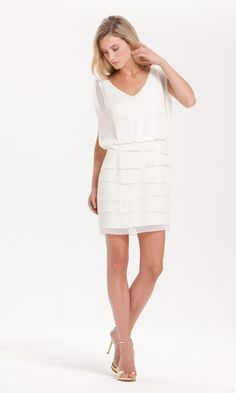 Perfect dress for a bride's bridal shower! Laundry's GOLD DROPS CHIFFON BLOUSON W/TIERED SKIRT