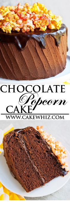 This decadent CHOCOLATE POPCORN CAKE with chocolate buttercream frosting and chocolate ganache is great for birthday parties! It's an easy cake recipe, using simple ingredients. From cakewhiz.com