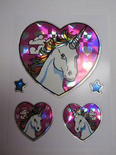 Oh, unicorns. 1980s Vintage Stickers Prismatic Shiny Foil