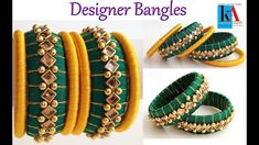 How to make Designer silk thread Bangles side bangles / bangles using silk thread tutorial Silk Thread Earrings Designs, Silk Thread Bangles Design, Silk Thread Necklace, Silk Bangles, Beaded Necklace Patterns, Bridal Bangles, Thread Jewellery, Jewelry Patterns, Paper Earrings
