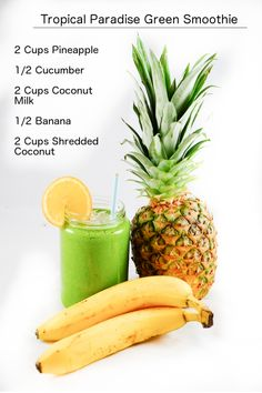 Tropical Pineapple & Banana Green Smoothie.   More gree smoothie ideas at http://www.greensmoothieforbeauty.com