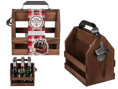 Wooden Beer Bottle Holder Carry Metal Bottle Opener For 6 Bottles Wood Crate Box Bottle Box, Bottle Rack, Bottle Holders, Beer Bottle, Bottle Opener, Wood Crates, Wood Colors, Cool Gifts, Wine Rack