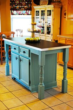 I redid our kitchen island to add a larger counter, seating & fun details! - This is my post about our easy DIY kitchen island makeover. It's made a huge di… Kitchen Island Makeover, Kitchen Redo, New Kitchen, Kitchen Remodel, Kitchen Islands, Design Kitchen, Kitchen Ideas, Kitchen Island Made From Dresser, Diy Kitchen Island Extension