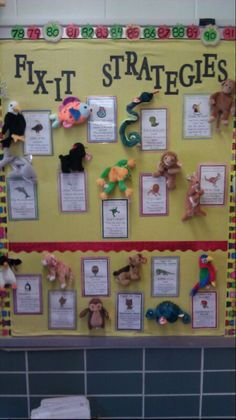 Beanie Baby Strategies for when a learner comes to an unknown word (Chunky Monkey, Lips the Fish (getting your mouth ready for the first sound), ect..)  They always remember the strategy when it is attached to the animal.