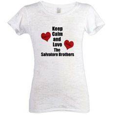The Salvatore Brothers Womens Burnout Tee Keep Calm and love the Salvatore Brothers with Damon and Stefan written in two red hearts. Great design inspired by the Vampire Diaries and the Salvatore Brothers. Find T-shirts, Mugs and more great f  $31.05