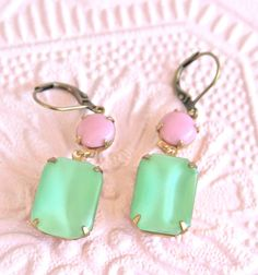 Vintage Peridot Mint Green Square Moonstone Pink by heathernn1, $23.00