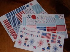 Independence Day Stickers / 4th of July Stickers / Erin Condren Life Planner / Vertical Planner by TheOrganizedPlanner on Etsy