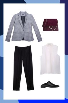 Wearing a blazer with tailored trousers is a total #girlboss move. Inject some flair to this classic suit silhouette by swapping your heels for slides and adding a bold handbag. The result? A minimal outfit with maximum effect. #refinery29 http://www.refinery29.com/power-outfits-by-industry-macys-workwear#slide-2