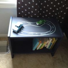 DIY nightstand for boys room - Ikea nightstand painted with chalkboard paint