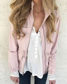 Spring outfit - pink utility jacket with nursing friendly white henley (size down).