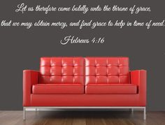 Bible Verse Wall Decal, Hebrews 4:16, Scripture Wall Decal - Inspirational Wall Signs