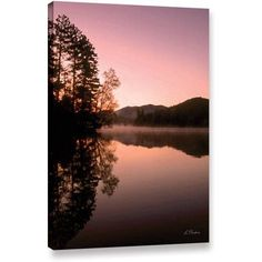 Linda Parker Mirror Lake, Lake Placid Gallery-Wrapped Canvas Wall Art, Size: 18 x 24, Black