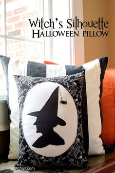 Free sewing pattern for this fun Witch Silhouette pillow. How to sew a pillow and make a cute Halloween pillow, free Witch Silhouette Pattern Cute Halloween, Halloween Crafts, Halloween Decorations, Halloween Foods, Halloween Witches, Halloween Ornaments, Halloween Porch, Outdoor Halloween, Halloween 2020