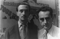 """Salvador Dalí and Man Ray in Paris, on June 16, 1934 making """"wild eyes"""" for photographer Carl Van Vechten"""