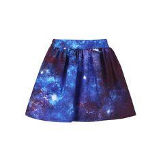 Dark Universe Print Elastic Skirt ($37) ❤ liked on Polyvore