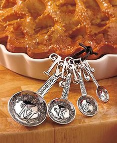 Set of 4 Monogram Measuring Spoons S * Click for Special Deals #MeasuringSpoons