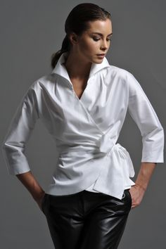 Stunning Range of Women's White Blouses, Formal Shirts & White Business Shirts. View Online & Get Off Today Wrap Shirt, Wrap Blouse, Cotton Blouses, Shirt Blouses, Black Leather Leggings, White Shirts Women, Crisp White Shirt, Classic White Shirt, Formal Shirts