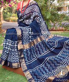 Elegant Indigo Chanderi Saree with Dabu Block Printing Silk Saree Kanchipuram, Chanderi Silk Saree, Cotton Saree, Cotton Dresses, Silk Sarees, Indigo Saree, Kota Silk Saree, Sari, Wedding Silk Saree