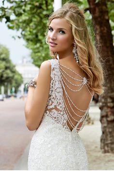 Erin by Ronald Joyce. Wedding dresses with beautiful backs #wedding #dress #back #beading
