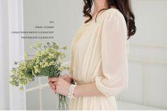 2014 summer new Korean version chiffon Slim Sleeve beige dress for women $11.00