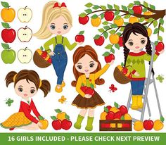 Girls Picking Apples Clipart, Vector Apples Clipart, Little Girls Clipart, Harvest Clipart #thecreativemill