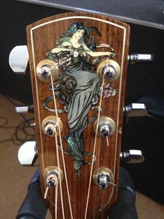 Beautiful Inlay on the Headstock of a Larrivee Guitar Guitar Inlay, Guitar Art, Cool Guitar, Unique Guitars, Custom Guitars, Vintage Guitars, Banjo, Cello, Cigar Box Guitar
