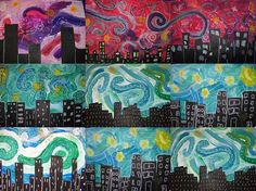 Love the skies in these--incorporate into third grade mural project?