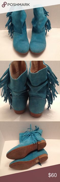 """Blue fringe suede boots Nice color for the fall, goes well with everything. Pretty blue with fringed sides in good condition, light mark on side of boots, not very notice with .5"""" heels. Made in Spain, boots say size 37/6.5 Vas Shoes Ankle Boots & Booties"""