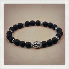 Faceted matte onyx wrist mala style by DonaQuichotteJewels on Etsy, $28.00