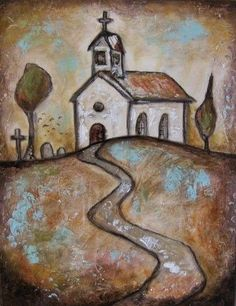 Sunset Church Textured Acrylic Art by solamar7 on Etsy, $75.00