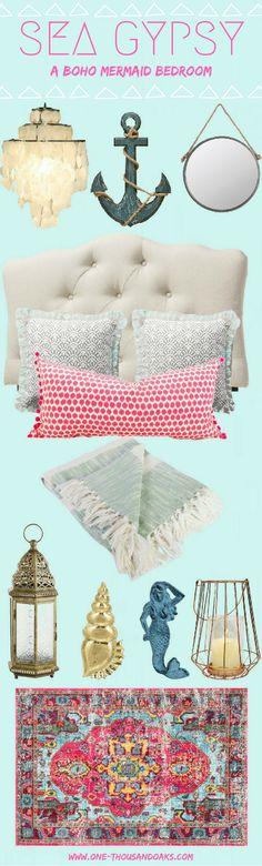 1838b4f5a5b Sea Gypsy is a Boho Mermaid Bedroom. This bedroom theme combines Bohemian  and Mermaid to