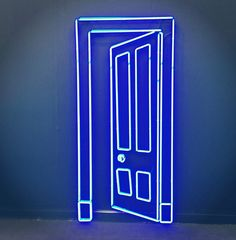 """This could be over our """"fake door"""" Neon by artist Gavin Turk at Almine Rech Gallery -- Frieze Art Fair -- London 2012 Fred Instagram, Frieze Masters, Frieze Art Fair, All Of The Lights, Neon Aesthetic, Neon Glow, Light Installation, Neon Lighting, Bar Lighting"""