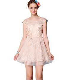Newly Embroidery Lace Sweet Summer Dresses Apricot