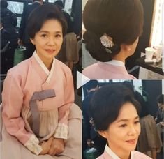 Hanbok Wedding, Up Styles, Wedding Makeup, Mother Of The Bride, Mothers, Hair Beauty, Beautiful Women, Ruffle Blouse, Woman