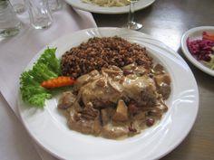 Buckwheat kasha, zraz zawijany (stuffed beef) with wild mashroom sauce.