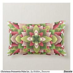 Christmas Poinsettia Palm Leaves Mandala Lumbar Pillow Christmas Mandala, Christmas Poinsettia, Lumbar Pillow, Throw Pillows, Holiday Cards, Palm, Floral, Christian Christmas Cards