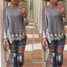 """Grey lace top-1 Super chic.Super cute and quality. Lace decorations the bottom and sleeves-2. Size XL (Asian XXL), same to other size. US S (Asian M) , US M-Asian L. US L-Asian XLStretchable. Tw. Five 🌟🌟🌟🌟🌟 . (NWOT-new without tag) Bust, US XL is around 38 -39 inches. Size uS L bust: 36-38 inches. Size US M: bust 35-37"""", size US S bust: 34-36"""" Us xs: 33-35"""" Tops Tees - Long Sleeve"""