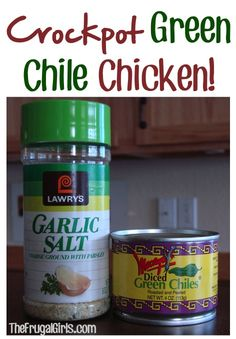 Crockpot Green Chile Chicken Recipe! ~ from TheFrugalGirls.com {this is so yummy, SO easy to make, and perfect for Taco night!!} #slowcooker #recipes