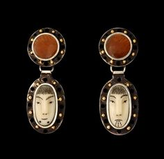 SUN/MOON Earrings with Drops by Denise Wallace, circa 2008, sterling silver, 14kt gold, gold feldspar