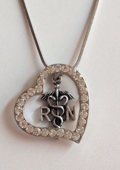 "Silver Crystal RN Caduceus Nursing Necklace Plated 18"" Nurse Graduation Gift USA #Unbranded #Pendant"