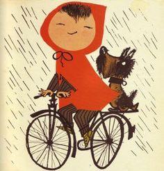 red hood, dog, bike