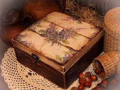Rustic gift Jewelry , tea box with lilac elements on it / Decoupage technique box vintage looking. Decoupage Wood, Decoupage Vintage, Book Crafts, Paper Crafts, Diy Crafts, Rustic Wood Crafts, Cigar Box Crafts, Altered Cigar Boxes, Prayer Box