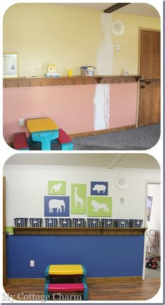Use crates to set diaper bags into and hooks for coats.church nursery decorating ideas